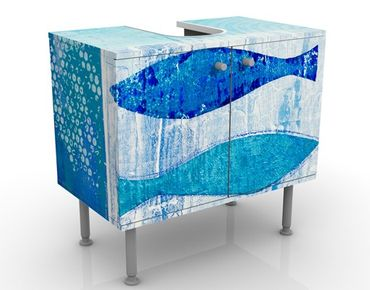 Waschbeckenunterschrank - Fish in the Blue - Maritim Badschrank Blau
