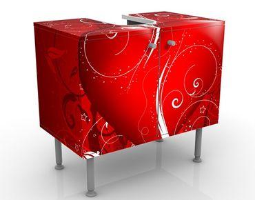 Waschbeckenunterschrank - Floral Heart - Badschrank Rot