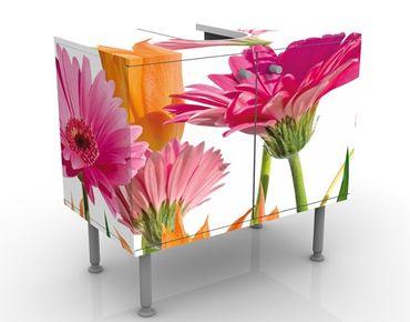 Waschbeckenunterschrank - Flower Melody - Blumen Badschrank Bunt