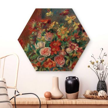 Hexagon Bild Holz - Auguste Renoir - Blumenvase