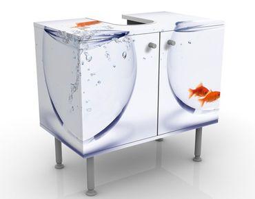 Waschbeckenunterschrank - Flying Goldfish - Badschrank Weiß