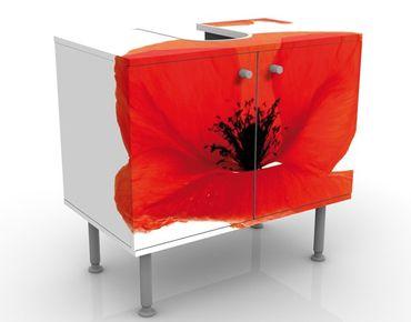 Waschbeckenunterschrank - Charming Poppies - Blumen Badschrank Rot