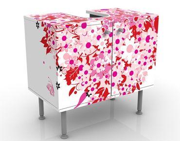 Waschbeckenunterschrank - Floral Retro Heart - Blumen Badschrank Rosa Rot