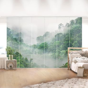 Schiebegardinen Set - Dschungel im Nebel - 4 Flächenvorhänge