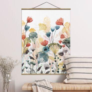 Stoffbild mit Posterleisten - Wildblumen im Sommer II - Hochformat 3:4