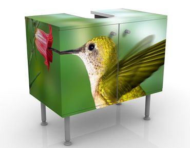 Waschbeckenunterschrank - Kolibri und Blüte - Badschrank Grün