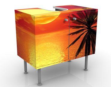 Waschbeckenunterschrank - Karibischer Sonnenuntergang - Badschrank Orange Rot