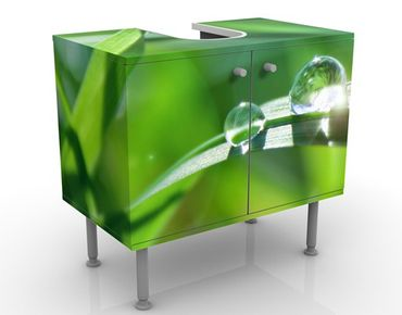 Waschbeckenunterschrank - Green Ambiance II - Blumen Badschrank Grün
