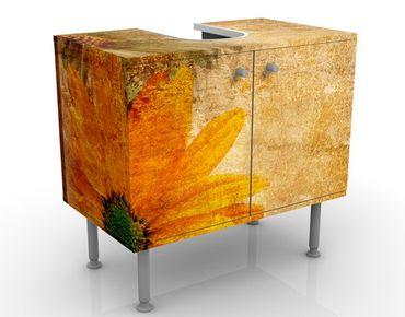 Waschbeckenunterschrank - Vintage Flowermix - Blumen Badschrank Orange Gelb Braun
