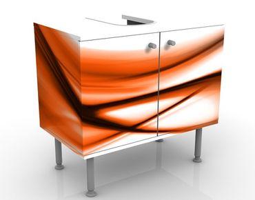 Waschbeckenunterschrank - Orange Touch - Badschrank Weiß Orange