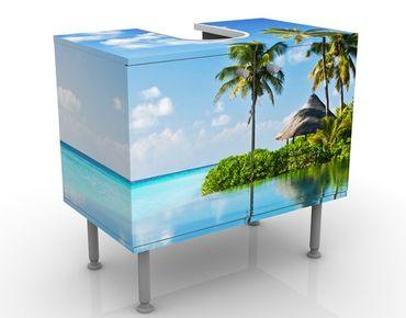 Waschbeckenunterschrank - Tropisches Paradies - Badschrank Blau