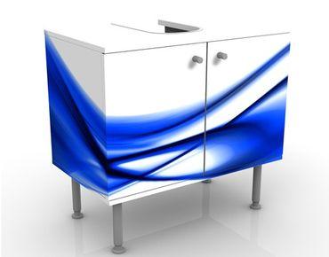 Waschbeckenunterschrank - Blue Touch No.2 - Badschrank Weiß Blau