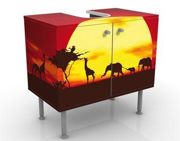 Waschbeckenunterschrank - No.CG80 Sunset Caravan - Badschrank Gelb Rot