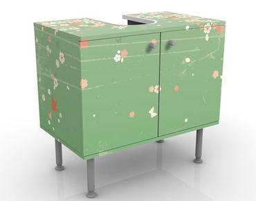 Waschbeckenunterschrank - No.EK236 Spring Background - Blumen Badschrank Grün