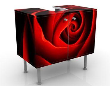 Waschbeckenunterschrank - Liebliche Rose - Blumen Badschrank Rot