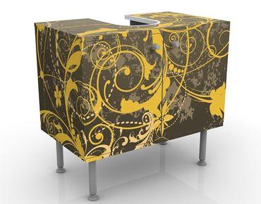 Waschbeckenunterschrank - Schnörkel in Gold - Badschrank Gelb