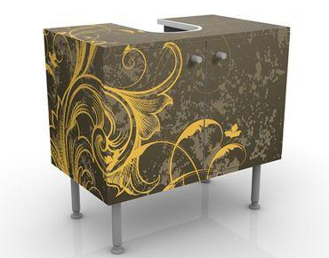 Waschbeckenunterschrank - Schnörkel in Gold und Silber - Vintage Badschrank Gelb