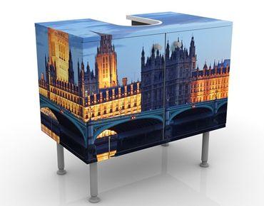 Waschbeckenunterschrank - London bei Nacht - Badschrank Blau