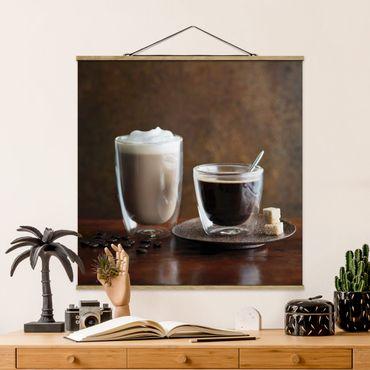 Stoffbild mit Posterleisten - Espresso und Milchkaffee - Quadrat 1:1