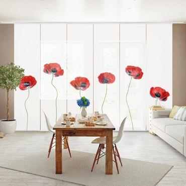 Schiebegardinen Set - Marienkäfer Mohnblumen - Flächenvorhänge