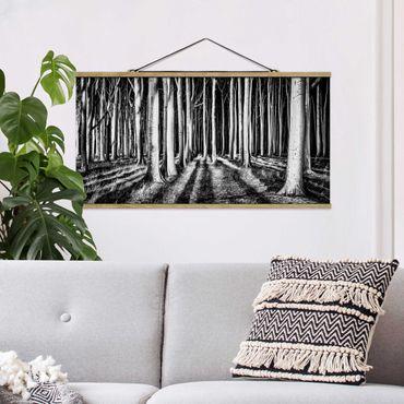 Stoffbild mit Posterleisten - Geisterwald - Querformat 1:2