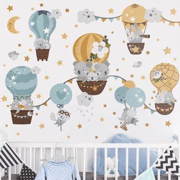 Wandtattoo - Tiere in Ballons Wolken Sterne Set