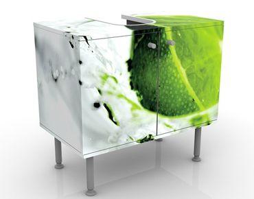 Waschbeckenunterschrank - Splash Lime - Badschrank Weiß Grün