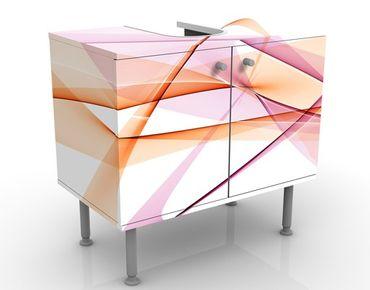Waschbeckenunterschrank - Mystical Waves - Badschrank Weiß Rosa