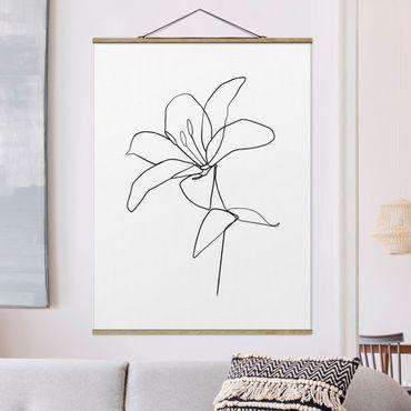 Stoffbild mit Posterleisten - Line Art Blüte Schwarz Weiß - Hochformat 3:4