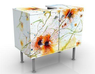 Waschbeckenunterschrank - Painted Flowers - Blumen Badschrank Weiß Orange