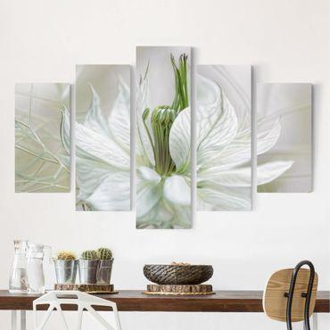 Leinwandbild 5-teilig - Weiße Nigella