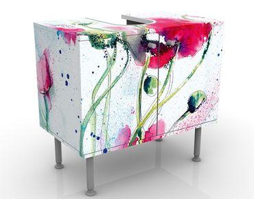 Waschbeckenunterschrank - Painted Poppies - Blumen Badschrank Weiß Rot