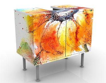 Waschbeckenunterschrank - Painted Sunflower - Blumen Badschrank Weiß Orange Gelb