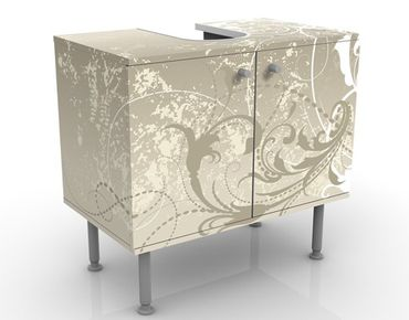 Waschbeckenunterschrank - Perlmutt Ornament Design - Badschrank Beige