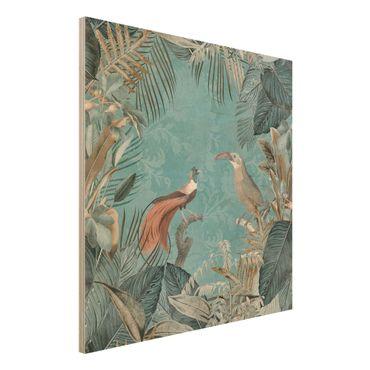 Holzbild - Vintage Collage - Paradiesvögel - Quadrat 1:1