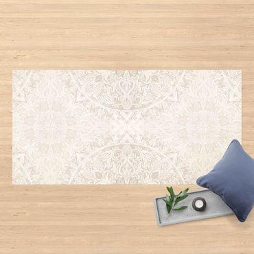Vinyl-Teppich - Mandala Aquarell Ornament Muster beige - Querformat 2:1