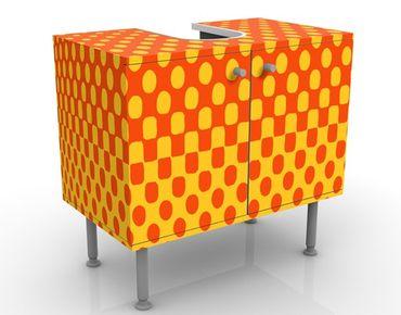 Waschbeckenunterschrank - Retro Disco Kugel - Badschrank Orange Gelb