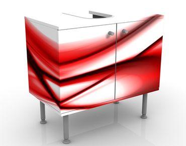 Waschbeckenunterschrank - Red Touch - Badschrank Weiß Rot