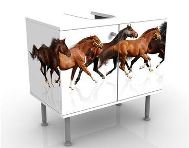 Waschbeckenunterschrank - Pferdeherde - Badschrank Weiß Braun