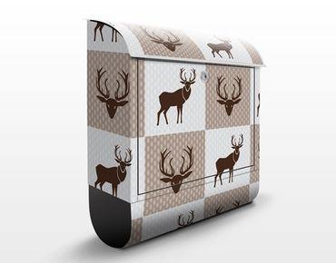Briefkasten mit Zeitungsfach - Hirsch Ornament - Punktemuster