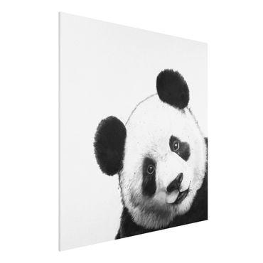 Forex Fine Art Print - Illustration Panda Schwarz Weiß Malerei - Quadrat 1:1