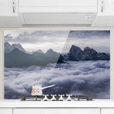 Spritzschutz Glas - Wolkenmeer im Himalaya - Querformat - 3:2