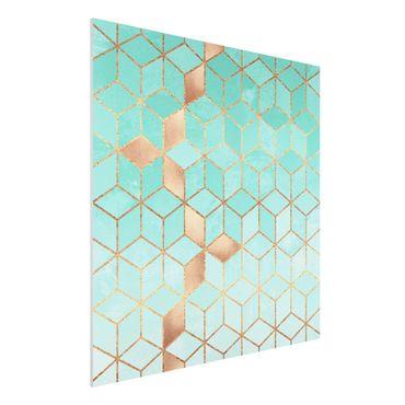 Forex Fine Art Print - Türkis Weiß goldene Geometrie - Quadrat 1:1
