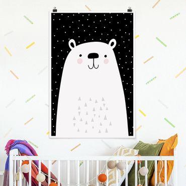 Poster - Tierpark mit Mustern - Eisbär - Hochformat 3:2