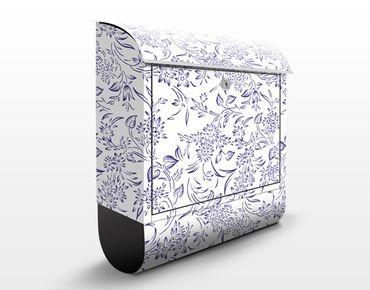 Briefkasten mit Zeitungsfach - Blumenmuster mit blauen Ranken - Briefkasten Blumen
