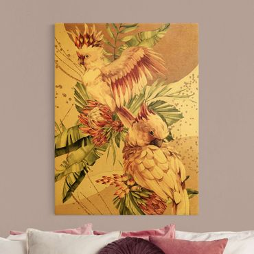 Leinwandbild Gold - Tropische Vögel - Pinke Kakadus - Hochformat 3:4