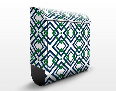 Wandbriefkasten - Karo Musterdesign - Briefkasten Blau