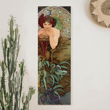 Leinwandbild - Alfons Mucha - Edelsteine - Smaragd - Panorama Hochformat 3:1