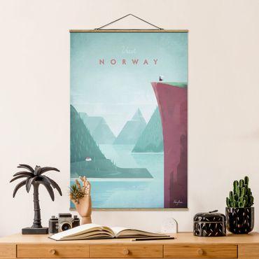 Stoffbild mit Posterleisten - Reiseposter - Norwegen - Hochformat 3:2