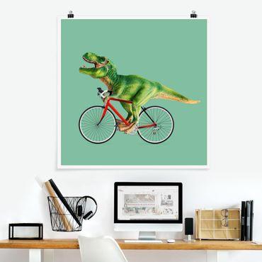 Poster - Jonas Loose - Dinosaurier mit Fahrrad - Quadrat 1:1